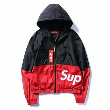 Supreme Fashion Hooded Zipper Cardigan Sweatshirt Jacket Coat Windbreaker Sportswear G