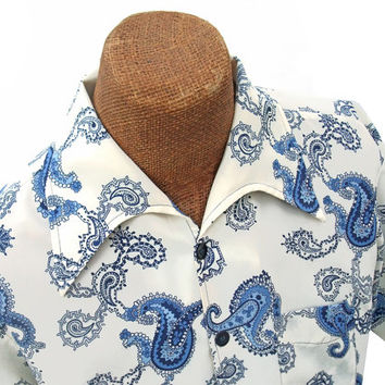 Vintage 70s Disco Shirt Mans Pointy Collar Short Sleeve Shirt Blue and Cream Paisley Print size Large by Campus