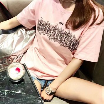 """OFF-WHITE"" Women Casual Fashion Personality Letter Pattern Print Short Sleeve T-shirt Top Tee"