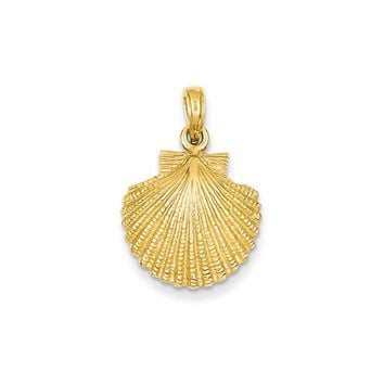 14k Yellow Gold Textured Scallop Shell Pendant, 16mm