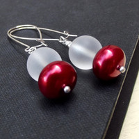 Christmas Earrings: Cherry Red & Frosted White Glass Silver Pierced Dangle Earrings, Nautical Beach Holiday Jewelry Under 20