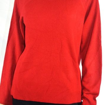 Karen Scott Women's Mock Neck Red Ribbed Trim Knit Sweater Top L