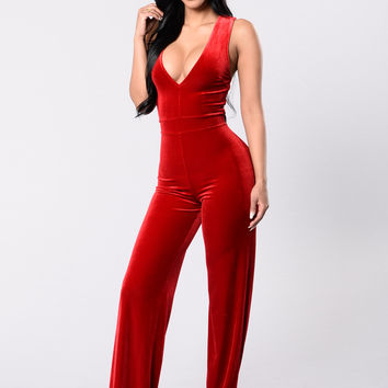 Take Me Higher Jumpsuit - Red