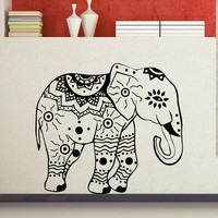 Decorated Elephant Wall Decals Indian Elephants Lotus Vinyl Decal Sticker Animals Interior Design Art Mural Living Room Bedroom Decor MR388