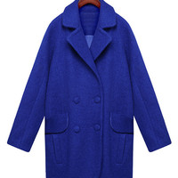 Blue Long Sleeve Notched Collar Wool Coat