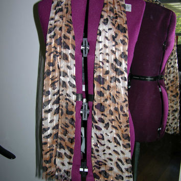 Leopard Printed Chiffon Scarf - Free Shipping Within United States