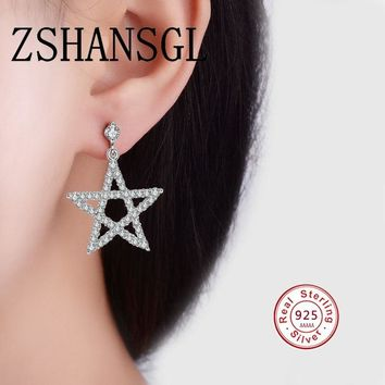 New Arrival Authentic 925 Sterling Silver Exquisite Hollow-out Five-pointed Star Stud Earrings for Women Hyperbole Fine Jewelry
