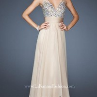 White Sequined V-neck Chiffon Floor-length Prom Gowns with Zipper Style YFAM128,2014 Prom Dresses