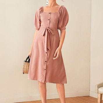 Button Front Puff Sleeve Belted Midi Dress