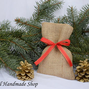 Christmas Gift Bags, Holiday Favor Bags, Burlap Christmas Favor Bag,SET OF 10