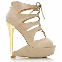 Cut-out Faux Suede Wedges