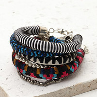 Embroidered Cord Bracelet Set