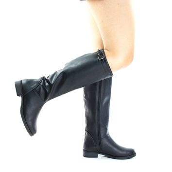 Pace Black By Soda, Equestrian Fashion Riding Boots w Block Heel & Top Strap
