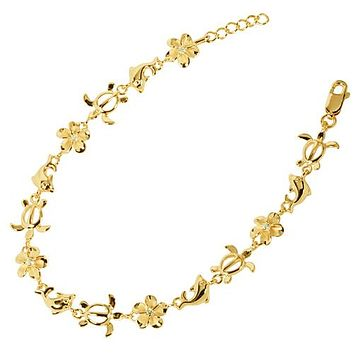 Yellow Gold Plated Sterling Silver Plumeria Honu Dolphin Bracelet