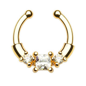 Square Center CZ Gems Faux Septum Hanger