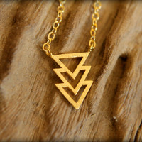 Layered Triangle Arrow Necklace in Brushed Gold
