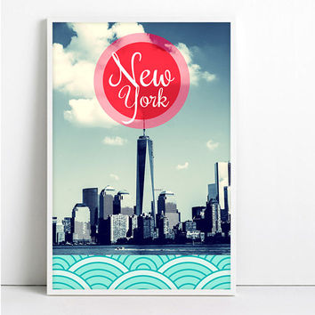 NY Print New York City NYC Typographic Poster Pop Art Bank of America Tower Photography Manhattan skyline Mad Men cityscape Travel poster