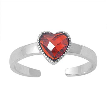 Sterling Silver Candy Crush Heart 6MM CZ Garnet CZ Toe Ring/ Knuckle/ Mid-Finger