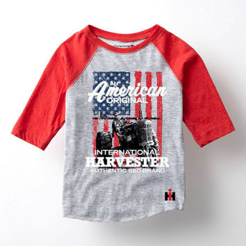 Athletic Heather & Red 'American' Raglan Tee - Kids