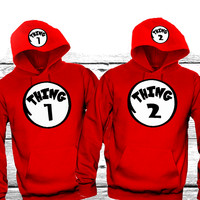 "Thing1 Thing2 ""Cute Couples Matching Hoodies"""