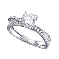 Diamond Bridal Ring with 0.90ct Center Round Stone in 14k White Gold 1.3 ctw