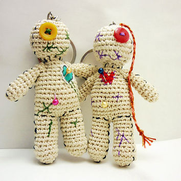 Amigurumi voodoo doll pair, Voodoo doll keychain, Crochet voodoo doll, Mardi gras key chain, Unique gift idea, Crochet zipper charm, Unisex