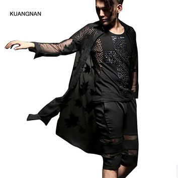 Men Thin Long Cardigan Trench Coat Sexy Mesh Maple Leaf Male Shawl Long Sleeve Sunscreen Outwear Jacket Punk Stage Costume