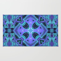 Aqua/Purple Mandala Rug by Lyle Hatch