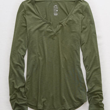 Aerie Real Soft® Long Sleeve Tee, Olive Fun