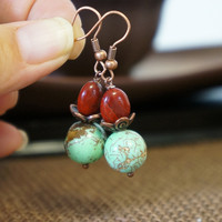 Natural Green Turquoise Red Jasper Drop Dangle Earrings