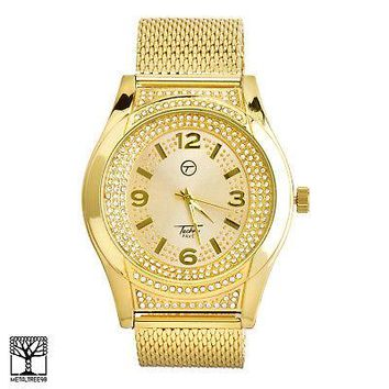 Jewelry Kay style Men's Bling 14k Gold Plated Iced Out Fashion Metal Mesh Band Watches WM 7358 G