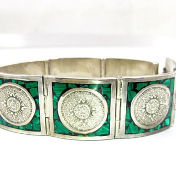 Aztec Calendar Bracelet, Mexican Zodiac Panels, Sterling Silver Malachite Inlay Mosaic Links, Vintage Mexico Sterling Jewelry