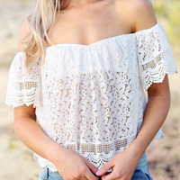 Audrey Off-Shoulder White Lace Top