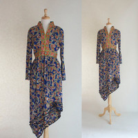 70s Dress / 70s Boho Dress / 70s Maxi Dress / 70s Upcycled Dress / 70s Paisley Dress