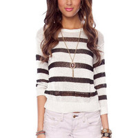 Simply Striped Sweater in Ivory and Black :: tobi
