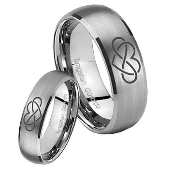 His Her Satin Silver Dome Infinity Love Tungsten Carbide Wedding Rings Set