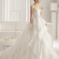 SERENATA Corded Lace Sleeves with Beading Wedding Dress 81154