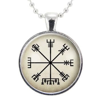 Icelandic Vegvísir Necklace, Viking Jewelry, Compass Wayfinder Pendant, Norse Amulet, Symbols And Runes