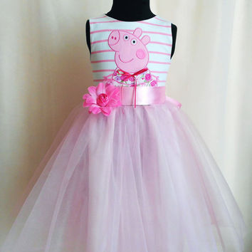 Gentle tulle Peppa Pig Birthday Dress for girls, Peppa Pig Party Dress, Tulle Dress for Birthday, Peppa Pig Dress