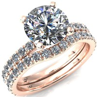 Nefili Round Moissanite 4 Prong 3/4 Eternity Diamond Accent Engagement Ring