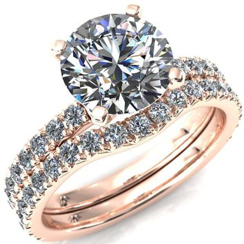 Nefili Round Moissanite 4 Prong 3 4 Eternity Diamond Accent Engagement Ring fd999b14b