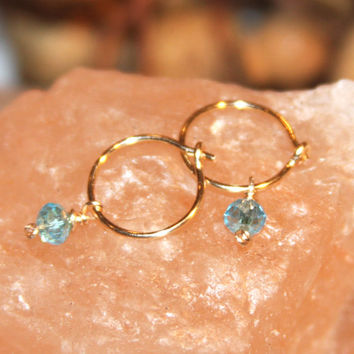 Tiny Crystal Hoop Earrings, Blue Crystal Hoop Earrings, Lobe/Cartilage/Helix/Tragus