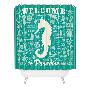 Anderson Design Group Seahorse Pattern Shower Curtain