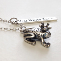 Silver frog prince charm necklace