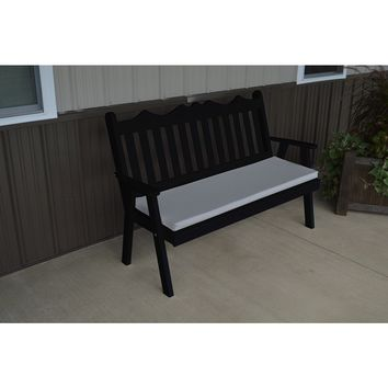 A & L Furniture Co. Yellow Pine 4' Royal English Garden Bench  - Ships FREE in 5-7 Business days