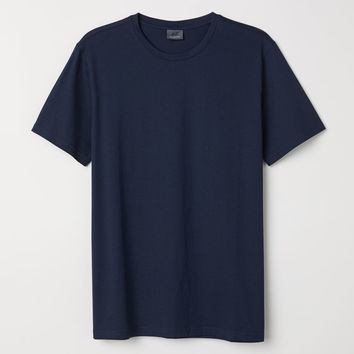 Premium Cotton T-shirt - Dark blue - Men | H&M US