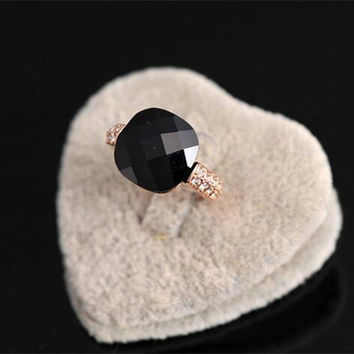 Black agate rhinestone crystal rings, women rings, black crystal rings