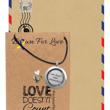 Adena Gifts for Her Locket Necklace, Down Syndrome Awareness Jewelry with Greeting Card