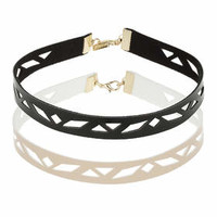 Pack of Two Leather-Look Cut-Out Chokers - Black