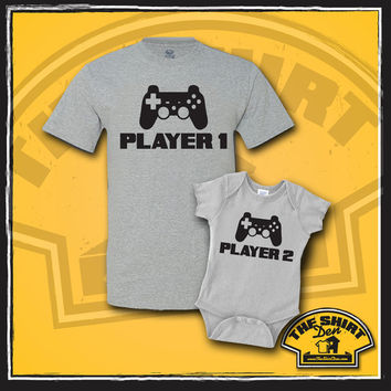 Video Game Player 1 and Player 2 Matching Dad And Baby Shirts - Video Game Lover - New Baby - Video Games - Father and Baby Set -  Ne
